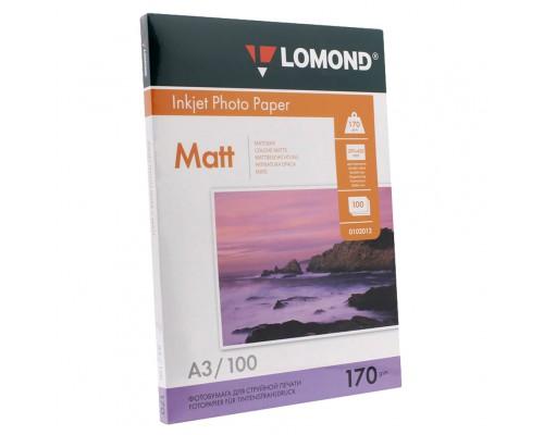 A3, 170 г/м2, 100 л. Фотобумага Lomond матовая двусторонняя (0102012)