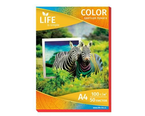 Цветная офисная бумага LIFE 80г/А4/50л красная