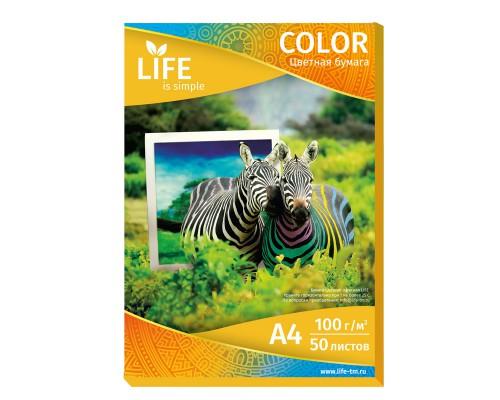 Цветная офисная бумага LIFE 80г/А4/50л оранжевая