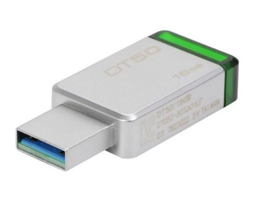 ФЛЭШ-КАРТА KINGSTON 16GB DT-50 USB 3.0 ЗЕЛЕНАЯ МЕТАЛЛИЧЕСКАЯ