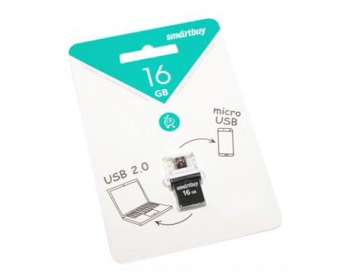 ФЛЭШ-КАРТА SMART BUY 16GB POKO OTG ЧЕРНАЯ USB + MICRO USB