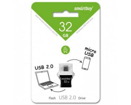 ФЛЭШ-КАРТА SMART BUY 32GB POKO OTG ЧЕРНАЯ USB + MICRO USB