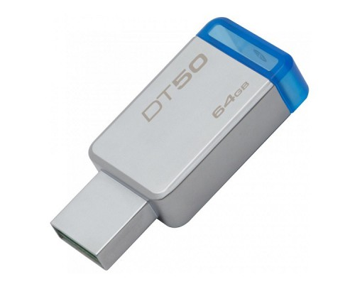 ФЛЭШ-КАРТА KINGSTON  64GB DT50 METAL/BLUE USB 3.0