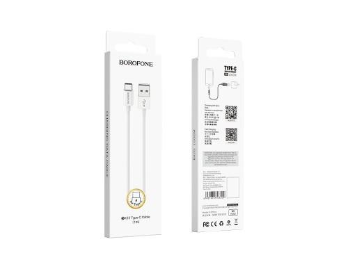 BOROFONE КАБЕЛЬ USB-TYPE-C BX22 СИЛИКОН БЕЛЫЙ 1.0м 2.1A