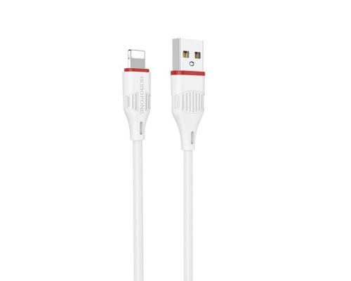 BOROFONE КАБЕЛЬ USB-iPHONE 5-X BX17 КРУГЛЫЙ БЕЛЫЙ 1.0м 2.0A