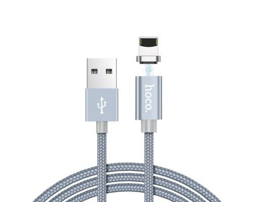 HOCO КАБЕЛЬ USB-iPHONE 5-8 U40A МАГНИТНЫЙ СЕРЫЙ МЕТАЛЛИК 1м
