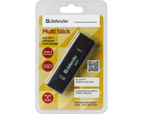 КАРТ-РИДЕР DEFENDER MULTI STICK USB 2.0 TYPЕ-A/B/C > SD/TF