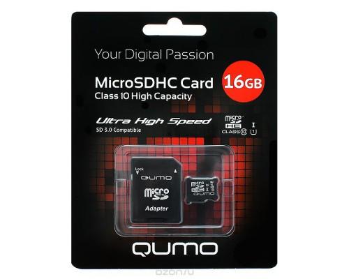QUMO 16GB MICRO SDHC CLASS 10 UHS-I + SD АДАПТЕР SD 3.0