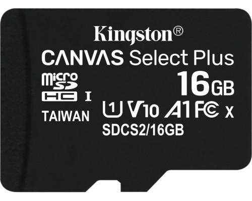 KINGSTON 16Gb MICRO SDHC CLASS 10 Canvas A1 (100Mb/s) БЕЗ АДАПТЕРА