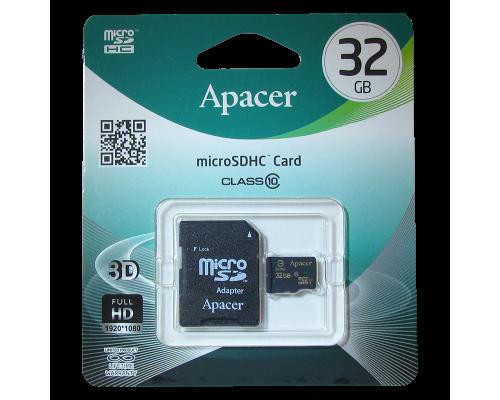 APACER  32 GB MICRO SD SDHC CLASS 10 + SD АДАПТЕР