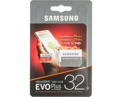 SAMSUNG 32Gb MICRO SDHC CLASS 10 EVO+/U1/20/95Mb/s +SD АДАПТ