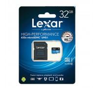 LEXAR  32GB MICRO SDHC CLASS 10 UHS-I(633x) + SD АДАПТЕР