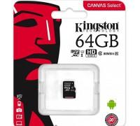 KINGSTON  64Gb MICRO SDHC CLASS 10 UHS-I U1(80Mb/s) БЕЗ АДАПТЕРА