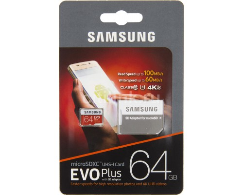 SAMSUNG 64Gb MICRO SDHC CLASS 10 EVO+/U1/U3/100mb/s +SD АДАП