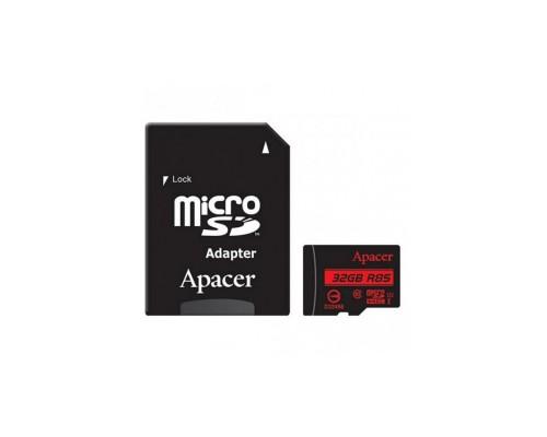 APACER  32GB MICRO SDHC CLASS 10 UHS-I U1 R85 + SD АДАПТЕР