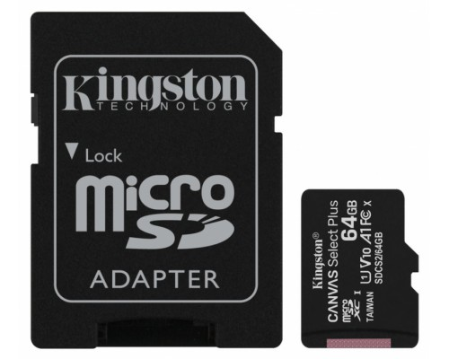 KINGSTON  64Gb MICRO SDHC CLASS 10 Canvas A1 (100Mb/s)+адаптер