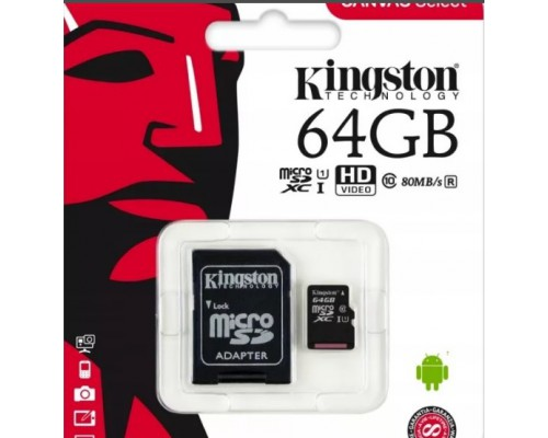 KINGSTON  64Gb MICRO SDHC CLASS 10 UHS-I U1(80Mb/s)+SD АДАПТЕР
