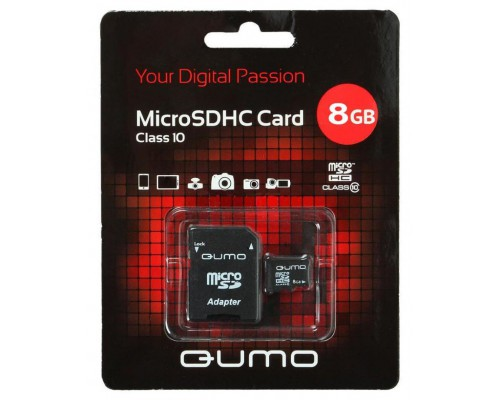 QUMO 8 GB MICRO SDHC CLASS 10 + SD АДАПТЕР