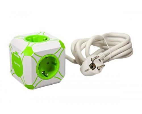 Сетевое USB зарядное устройство с сетевым удлинителем miniCUBE, 2USB 2.4A, 4розетки, 16А